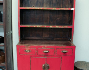 Vintage Chinese 2-Door 3-Drawer Cabinet with Bookcase