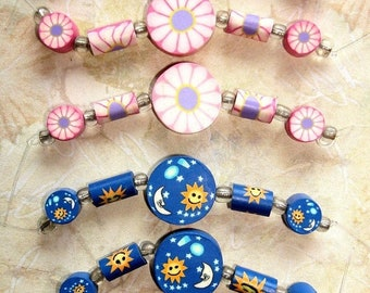 ON SALE 6 Strands of BLUE Moon Fimo Clay Bead Sets - As Shown