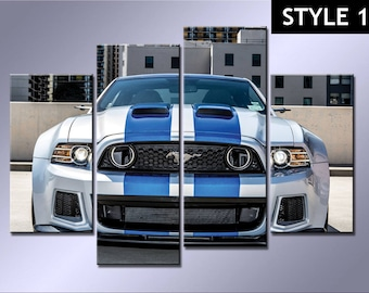 Ford Mustang Sports Car 4 Panel canvas