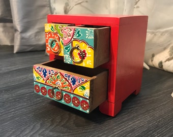 Dresser Drawer Jewelry Box, Hand Painted Cabinet Red, Wood Accessory Storage Container with Three Drawers, Item #553052971