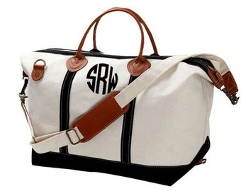 Monogrammed Canvas Weekender Bag, Monogrammed Canvas Overnight Bag, Canvas Sachel, Personalized Canvas Weekender, Weekend bag