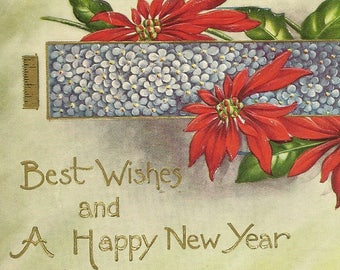 Brightly Colored Antique New Year's Postcard Red Poinsettia and Banner of Forget-me-Nots 1911