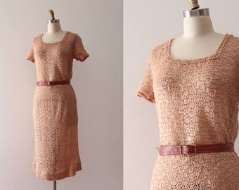 vintage 1940s dress // 40s ribbon knit dress