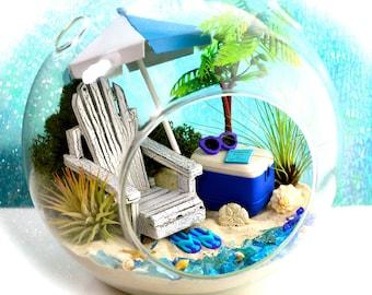 """Beach Terrarium Kit ~ 7"""" Air Plant Terrarium Kit ~ Coastal Living Beach Decor ~ Beach Chair ~ Palm Tree ~ FlipFlops ~ Cooler ~ Gift Idea"""