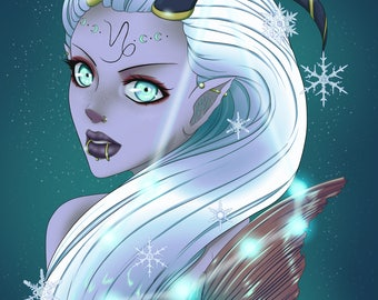 "Capricorn Art Print - 8""x10"" or 11x14"" - original anime manga Zodiac Moon Astral goth girl art - Bianca Loran Art"