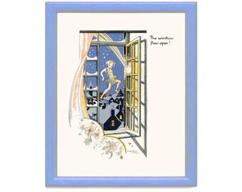 The Window Flew Open, Peter Breaks Through, Peter Pan Vintage Print 1931 J. M. Barrie, Nursery Art Decor, Childrens Art, Frameable Art Print