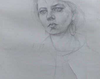 Original  Drawing Academical  Drawing Vintage  DarkTone Picture Pencil Paper Gift Portrait Young Komsomol member