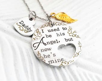 memorial jewelry, parent loss necklace, memorial keepsake jewelry, gold and silver memorial necklace, I used to be his angel,loss of husband