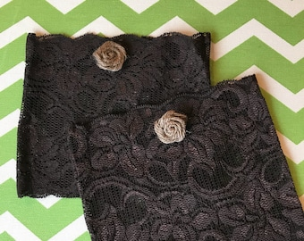 Brown/Black Lace Boot Cuffs with Burlap Rose