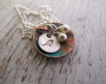 Bird Nest Necklace, Nest Egg Necklace, Hand Stamped Bird Nest, Mama Bird, Mother's Jewelry, Ready to Ship, Mother's Day Gift