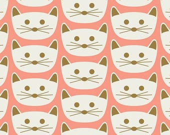 KNIT Fabric: Cat Nap in Pink Cotton Lycra Knit Fabric. Sold by the 1/2 Yard