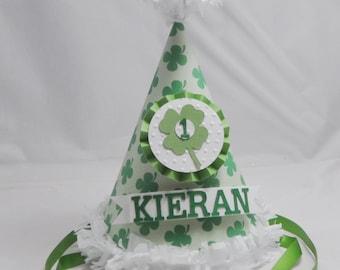 St Patricks Day 1st Birthday Hat, Personalized Party Hat,  Shamrock Birthday, Four Leaf Clover, 1st Birthday Boy Hat, 1st Birthday Girl Hat