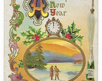 A Prosperous New Year, Antique New Year's Postcard, Embossed, Gold Accents, Clock, Champange, Ephemera
