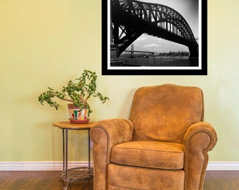 Vintage Fine Art Print - 1930's -  black and white - Hell Gate Bridge, Queens, NY, gift ideas, present, home office wall decor