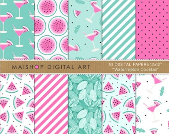Pink and Mint Digital Paper 'Watermelon Cocktail' Scrapbook Papers for Scrapbooking, Invitations, Stickers, Crafts, Decoupage, Cards...