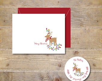 Christmas Cards . Christmas Card Set . Holiday Cards . Holiday Card Set - Decorating Reindeer