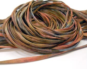 5YD. GHOST TOWN 2MM or 4MM Hand Dyed Silk Cord//5YD. Hand Dyed Silk Cording //4MM & 2MM accommodate insertion of memory wire