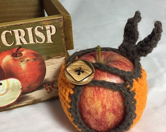 Apple Cozy Jacket Cotton Crochet Apple Holder in Autumn Orange and Brown