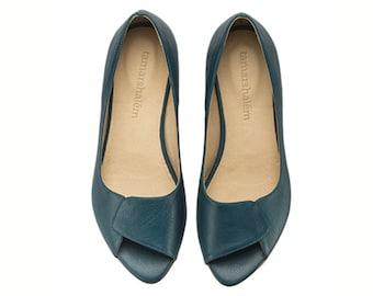 Aya, Peep Toes, aqauamarine, flat shoes, flats