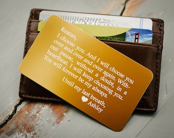 Personalized Wallet Card, Anniversary Gift for Him, Metal Wallet Insert, Custom Wallet Insert: Valentine Day, Wedding Day Gift for Groom