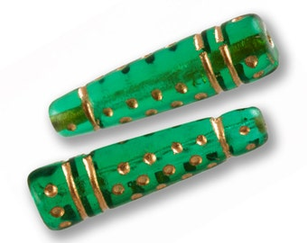 144Pcs 23mm Loose Beads, Vintage Green Gold Cone Taper Bead, Destash Jewelry Beads, DIY Jewelry Beads In Quantity, 1 Gross Bulk Lot
