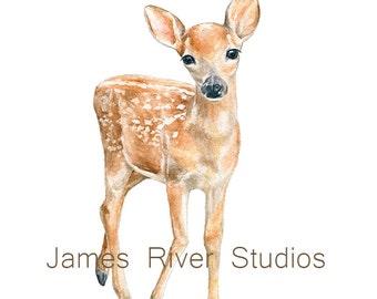 Deer Art Deer Painting Deer Print. Baby Deer Watercolor Baby Animal Painting Baby Deer Nursery Art Woodland Animal Forest Animal Fawn Decor.