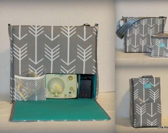 XS Ella style Breast Pump Bag in PP Arrows Gray print