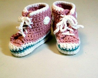 High-top Baby Sneaker Booties  Old Light Rose  Crochet Converse Style Baby Shoes