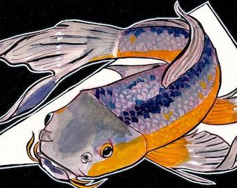 Koi ORIGINAL Gouache Watercolor Painting