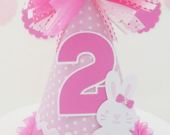 Lil' Pink Polka Dot Bunny Rabbit Birthday Party Hat - Light Pink and Candy Pink - Personalized