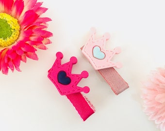 Crown hair clips/Crown Alligator clips/Pink crown hair clips/ Baby Hair barrettes/ Girl hair clips/ Toodler Alligator hair clips