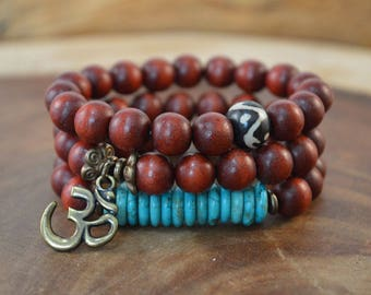 3-Bracelet Set, Wood Bead Bracelet, Bohemian Jewelry, Boho Bracelet, Charm Bracelet, Brown Bracelet, Bone Bracelet, Stacking Bracelet