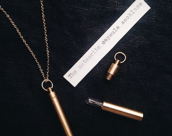 Temporarily Sold Out: Meteorite Fragment Necklace - Time Capsule Pendant with Glass Vial - EDC Gift
