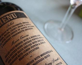 Wine Label Table Number's or Menu's ..Choose your Colors... Kraft Vintage Stamp