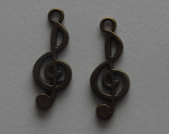 Set of 2 bronze charms - dimensions 25mm (BR096)