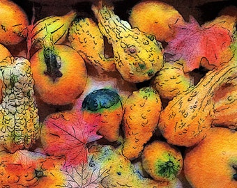 Fall Fantasy: An Autumn Photo Art Watercolor Study of Squash and Pumpkins Created in New York City