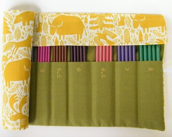 DPN Needle Case, Holds 2mm-8mm double pointed knitting needles. Forest fabric.