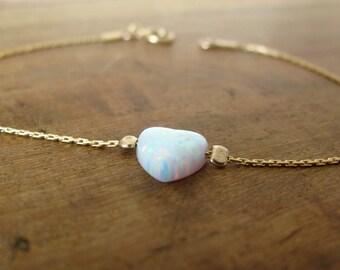 Opal bracelet, heart bracelet, gold bracelet, opal heart bracelet, white opal bracelet, glistening bracelet, fire opal bracelet