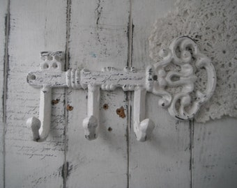 key hook scarf holder aged white key scarf hook belt hook leash holder shabby decor french country wall hook tea towel hook gold key hook