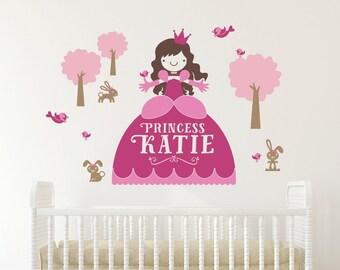 Princess Wall Decal with Name Cinderella Decor Fairy Tale Personalized Princess Room Nursery Appliqué
