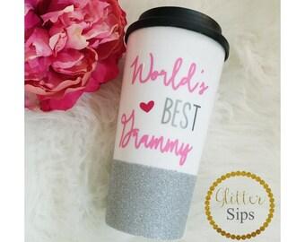 World's Best Grammy Glitter To Go Cup // Glitter Cup // Glitter Coffee Cup // Travel Cup // Plastic To Go Cup // Coffee Cup // Grandma