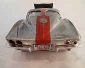 Classicwrecks, Rusted Wreck ,Scale Model, Silver Corvette Car,Junk Yard