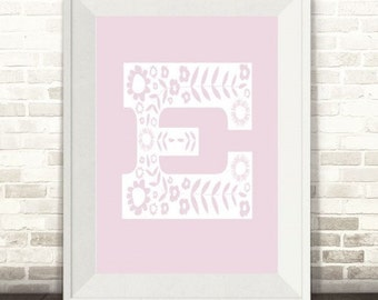 Custom Floral Monogram Letter Initial Print