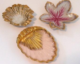 Gilded Porcelain Trinket Dish Trio, instant collection, porcelain trinket dishes, gold porcelain dishes, assorted trinket dishes,