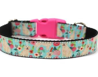 """Golden Retriever Dog Collar 1"""" Size Small *Ready To Ship* Floral Dog Collar"""
