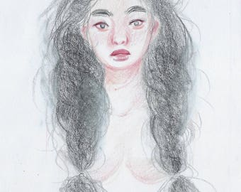Braids Girl Original Illustration