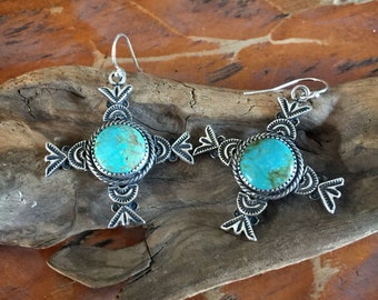 E89 The Loretto Cross Turquoise sterling silver southwestern native style earrings
