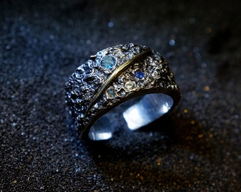 Perimade® Handmade Starry Night Band Ring in 990 Silver with Sapphire, Diamond and Topaz