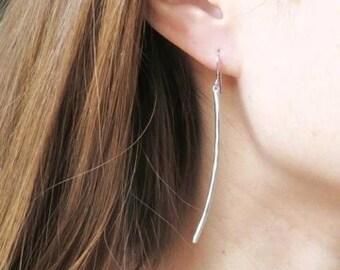 Long Silver Bar Earrings. Curved Bar Earrings. Dangle Earrings. Boho Chic. Modern Jewelry. Simple Earrings. Everyday Earrings. Minimalist.
