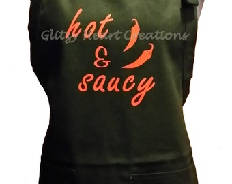 Apron, Hot and Saucy Design, Kitchen apron, cooking apron, black apron, bbq apron, cotton apron, apron with pockets, adjustable apron